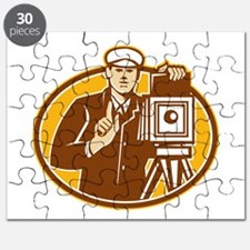 Photographer Vintage Camera Front Retro Puzzle