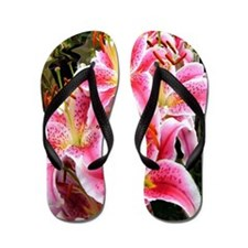 Pink Stargazer Lilies Flip Flops