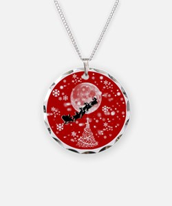 Santa Claus is Coming to Tow Necklace Circle Charm