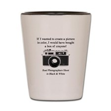 Black and White Photographer Shot Glass