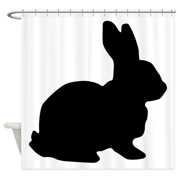 Black Bunny Silhouette Shower Curtain by AnimalLoverGifts