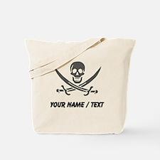 Custom Black Linen Calico Jack Skull Tote Bag