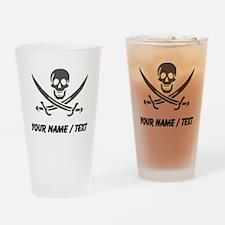 Custom Black Linen Calico Jack Skull Drinking Glas