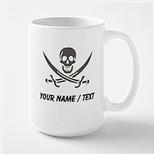 Custom Black Linen Calico Jack Skull Mugs