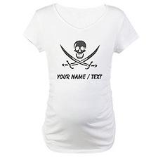 Custom Black Linen Calico Jack Skull Shirt