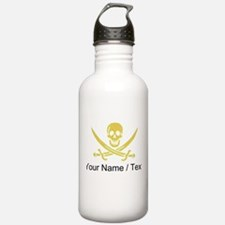 Custom Yellow Linen Calico Jack Skull Water Bottle