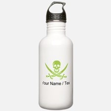 Custom Green Linen Calico Jack Skull Water Bottle
