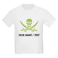Custom Green Linen Calico Jack Skull T-Shirt