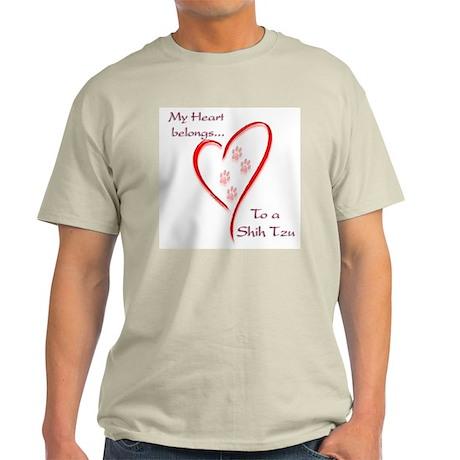 Shih Tzu Heart Belongs Ash Grey T-Shirt