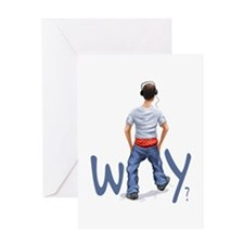 Youth with boxers showing - Why? Greeting Card