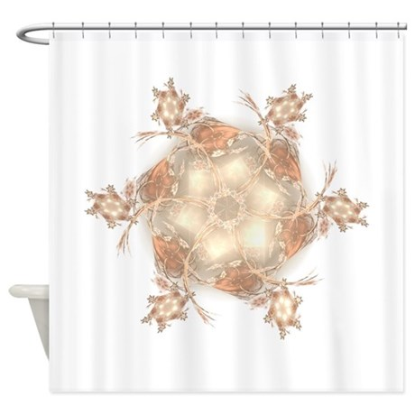 Pastel Peach Floral Dreams Kaleidos Shower Curtain by