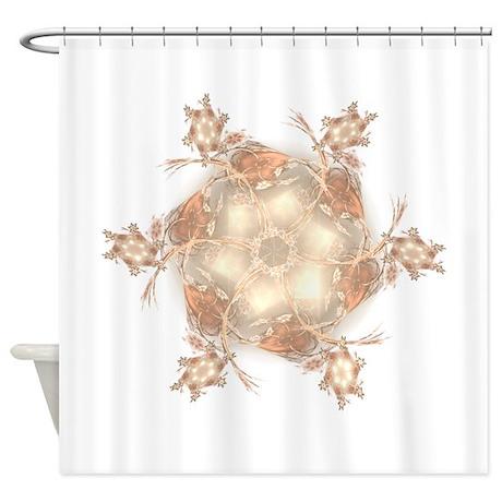 Pastel Peach Floral Dreams Kaleidos Shower Curtain By RosemarieswDigitalDesigns