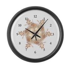 Pastel Peach Floral Dreams Kaleid Large Wall Clock