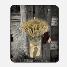 farm fence wheat bouquet Mousepad