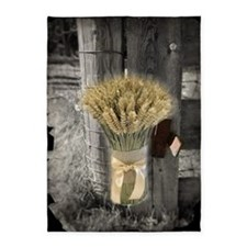farm fence wheat bouquet 5'x7'Area Rug