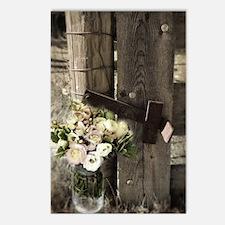 farm fence floral bouquet Postcards (Package of 8)