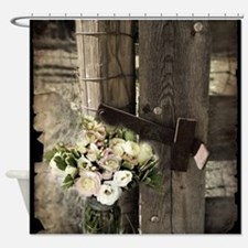 farm fence floral bouquet Shower Curtain