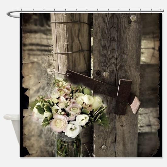 farm fence floral bouquet Shower Curtain