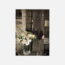 farm fence floral bouquet 5'x7'Area Rug