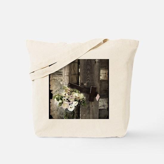 farm fence floral bouquet Tote Bag