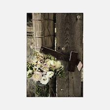 farm fence floral bouquet Rectangle Magnet