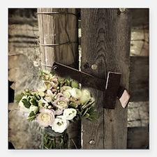 """farm fence floral bouque Square Car Magnet 3"""" x 3"""""""