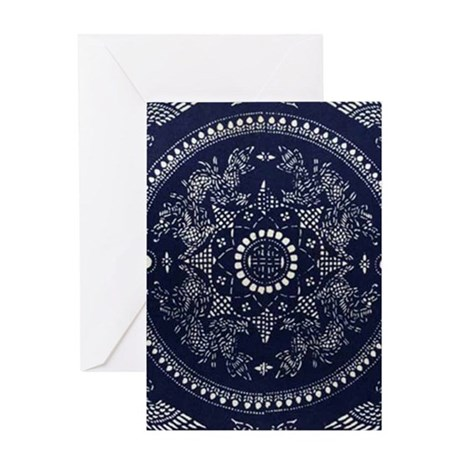 blue floral pattern japanese textile Greeting Card