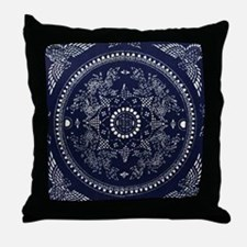 blue floral pattern japanese textile Throw Pillow