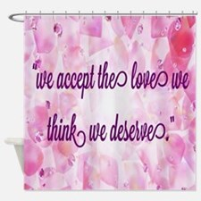 pink hearts love quotes Shower Curtain