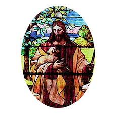 Jesus Good Shepherd Oval Ornament