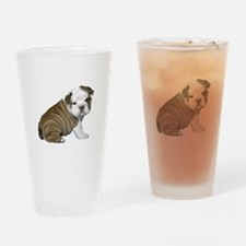 English Bulldog Puppy1 Drinking Glass