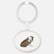 English Bulldog Puppy1 Oval Keychain