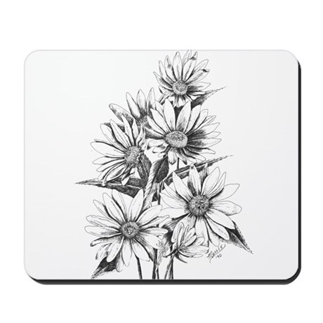 Pen and Ink Daisies Mousepad
