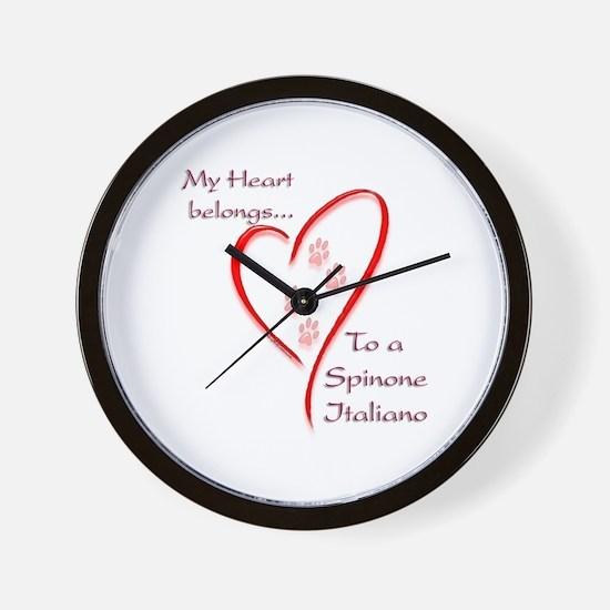 Spinone Heart Belongs Wall Clock