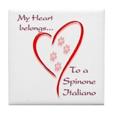 Spinone Heart Belongs Tile Coaster