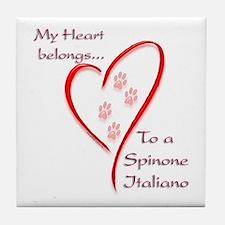 Spinone Heart Belongs Tile Coaster