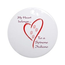 Spinone Heart Belongs Ornament (Round)