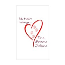 Spinone Heart Belongs Rectangle Decal