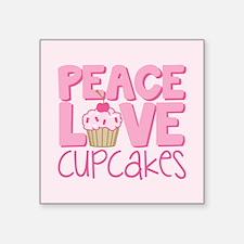 "Peace Love Cupcake Square Sticker 3"" x 3"""