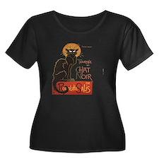 Steinlen Women's Plus Size Dark Scoop Neck T-Shirt