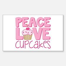 Peace Love Cupcake Sticker (Rectangle)