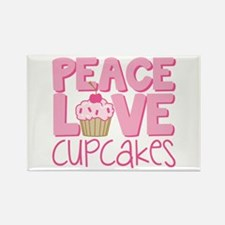 Peace Love Cupcake Rectangle Magnet (10 pack)