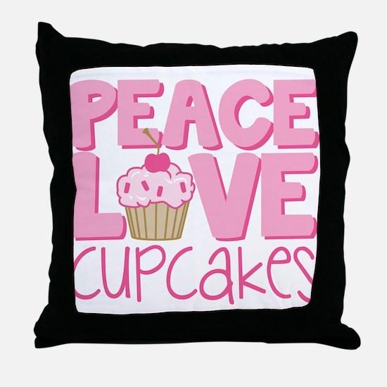 Peace Love Cupcake Throw Pillow