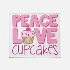 Peace Love Cupcake Throw Blanket