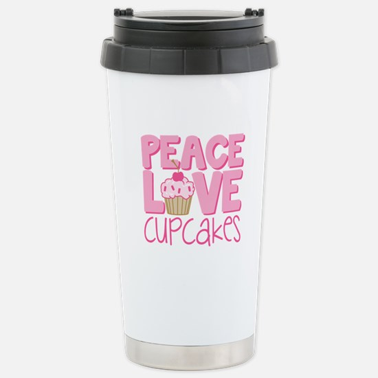 Peace Love Cupcake Stainless Steel Travel Mug