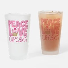 Peace Love Cupcake Drinking Glass