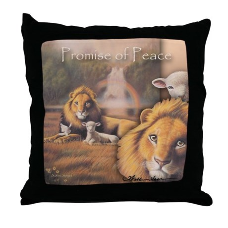 """Promise of Peace"" Fine Art Lion and Lamb Pillow"