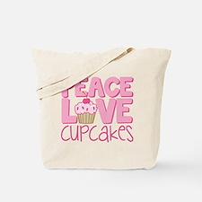 Peace Love Cupcake Tote Bag