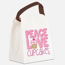 Peace Love Cupcake Canvas Lunch Bag
