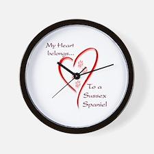 Sussex Spaniel Heart Belongs Wall Clock